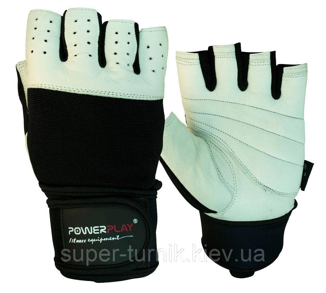 Рукавички для фітнесу PowerPlay 1069 Чорно-Білі L