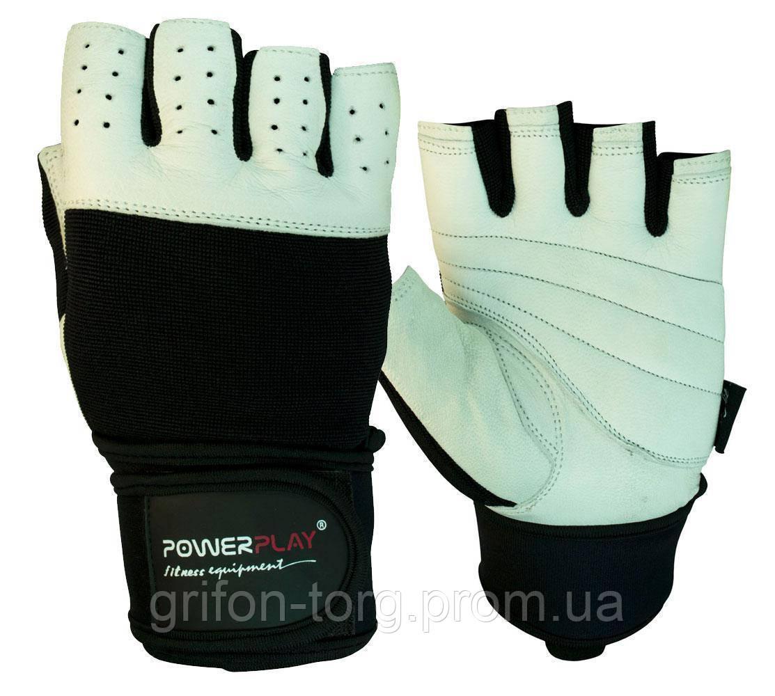 Рукавички для фітнесу PowerPlay 1069 Чорно-Білі XL