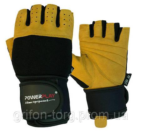 Рукавички для фітнесу PowerPlay 1069 А Чорно-Коричневі M, фото 2