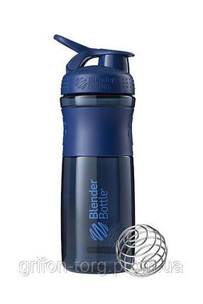 Спортивна пляшка-шейкер BlenderBottle SportMixer 28oz/820ml Navy (ORIGINAL), фото 2