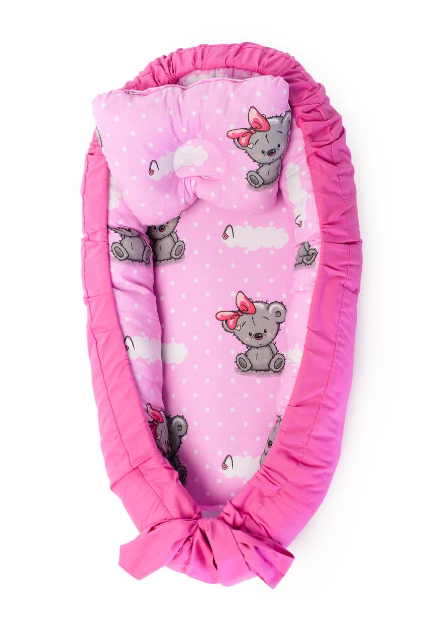 Детская кроватка гнездышко кокон для новорожденных Kospa Медведи Rose