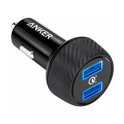 Адаптер автомобільний універсальний 2xUSB 3A Quick Charge 3.0 v3 Anker A2228H11 Black