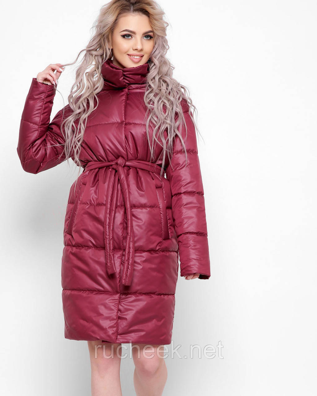 Куртка X-Woyz LS-8890-16 размер 44-46 марсала. Уудлиненная куртка пальто