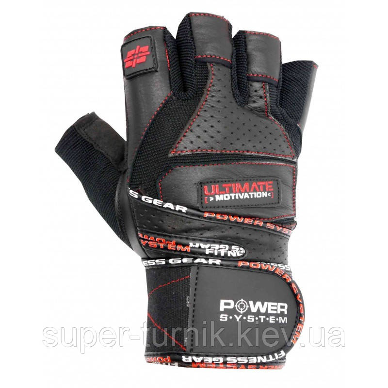 Рукавички для фітнесу і важкої атлетики Power System Ultimate Motivation PS-2810 Black Red Line S
