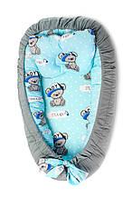 Детская кроватка гнездышко кокон для новорожденных Kospa Медведи Blue