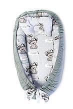 Детская кроватка гнездышко кокон для новорожденных Kospa Медведи Silver