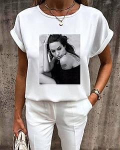Летняя женская футболка-блуза белого цвета с гламурным принтом 42-56 р