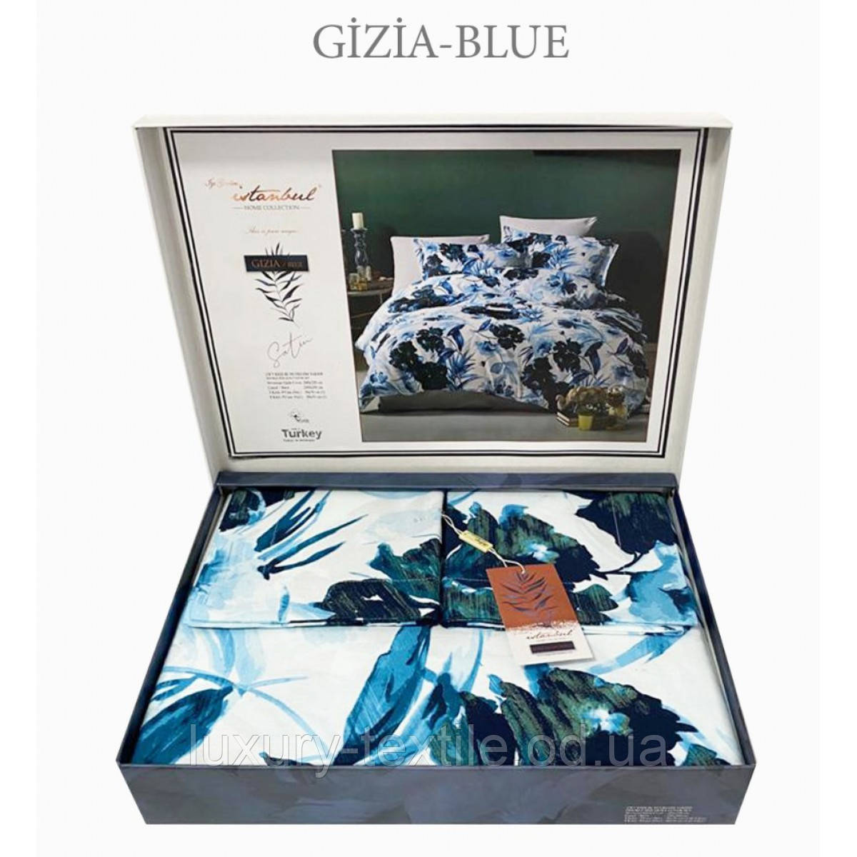 Комплект Постельного Белье Сатин Люкс Двуспальное Евро 200*220 см Istanbul Турция Цвет Синий