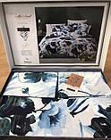 Комплект Постельного Белье Сатин Люкс Двуспальное Евро 200*220 см Istanbul Турция Цвет Синий, фото 2
