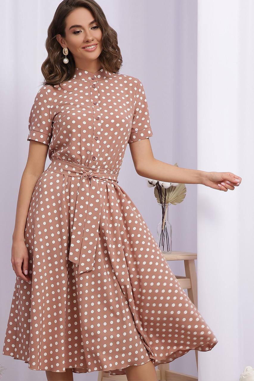 Женское летнее платье миди клеш в горошек