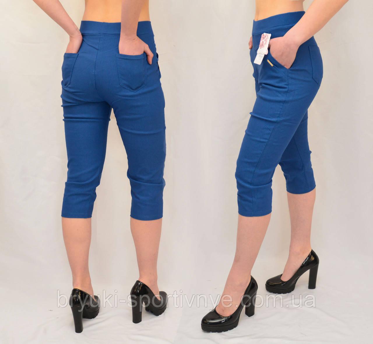 Бриджі жіночі яскраві бавовняні Капрі стрейчеві в джинсовому кольорі (Польща) L/XL