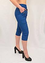 Бриджи женские яркие  хлопковые Капри стрейчевые в джинсовом цвете (Польша) L/XL, фото 2