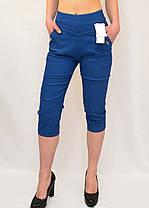 Бриджи женские яркие  хлопковые Капри стрейчевые в джинсовом цвете (Польша) L/XL, фото 3