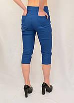 Бриджі жіночі яскраві бавовняні Капрі стрейчеві в джинсовому кольорі (Польща) L/XL, фото 3