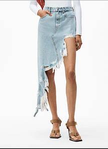 Ультрамодная джинсовая юбка асимметричного кроя с рваным краем 44-46 р