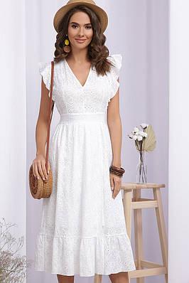 Женское белое летнее хлопковое платье миди
