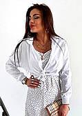 Женская белая рубашка укороченная