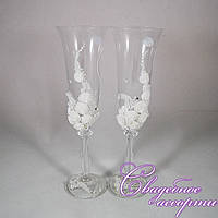 """Свадебные бокалы """"Белые розы"""""""