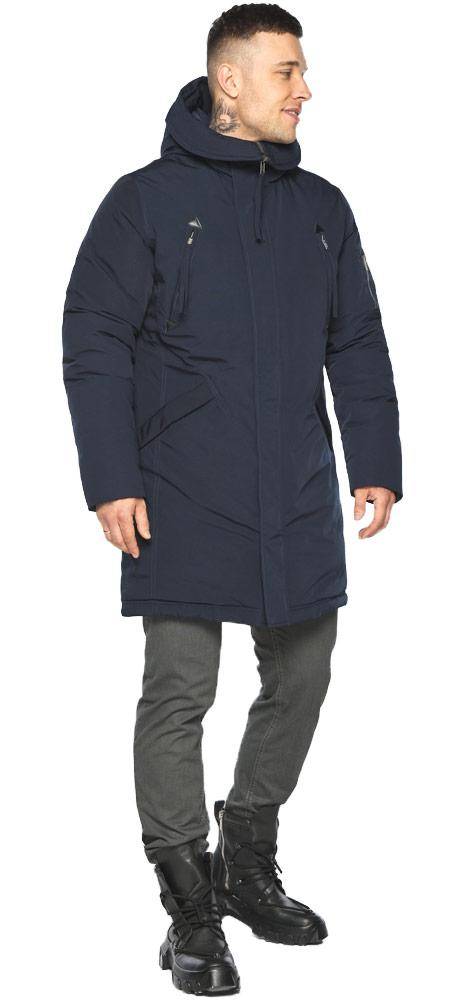 Куртка – воздуховик чоловічий модний зимовий темно-синій модель 30675