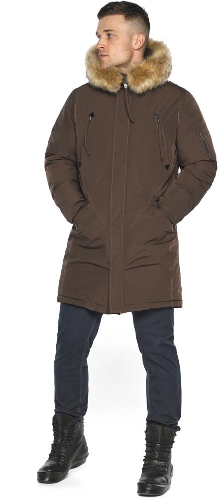 Куртка – воздуховик тёплый мужской для зимы коричневый модель 30975