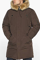 Куртка – воздуховик тёплый мужской для зимы коричневый модель 30975, фото 3