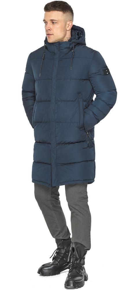 Комфортная зимняя куртка синяя модель 49609