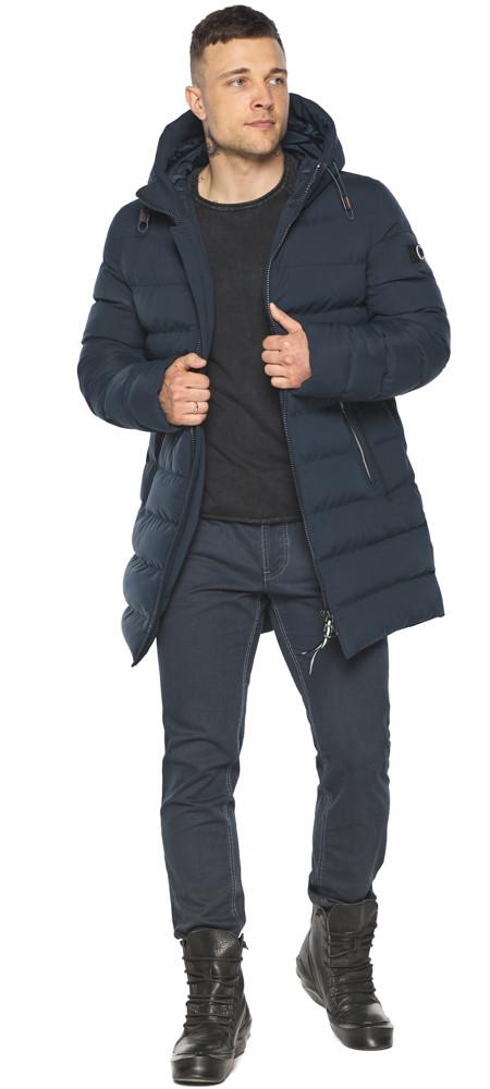 Зимова чоловіча куртка з капюшоном темно-синя модель 49080