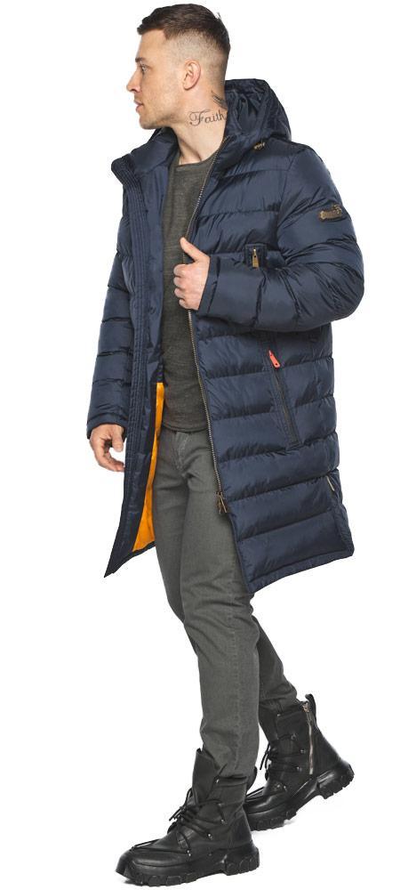 Мужская тёмно-синяя утеплённая куртка на зиму модель 49808