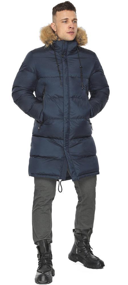 Практичная куртка тёмно-синяя мужская для зимы модель 49318