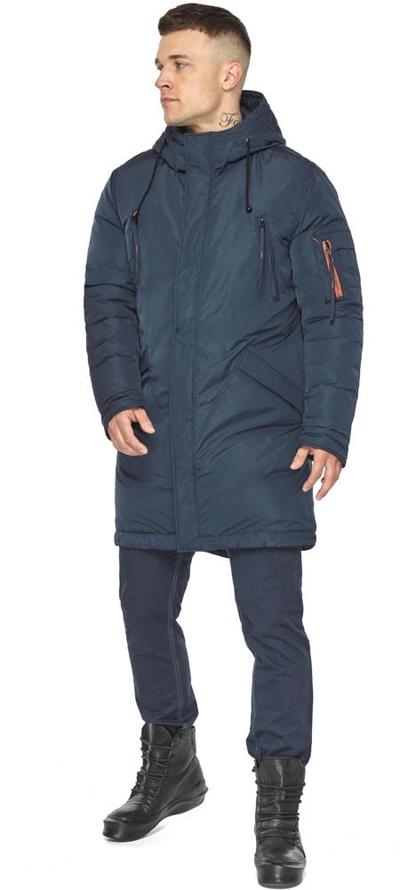 Куртка – воздуховик сучасний чоловічий зимовий темно-синій модель 30816