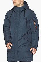 Куртка – воздуховик сучасний чоловічий зимовий темно-синій модель 30816, фото 3