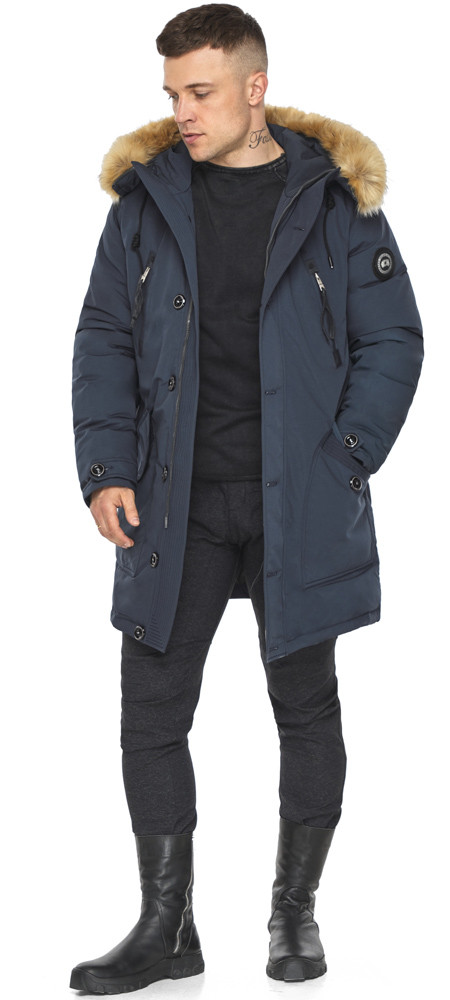 Куртка – воздуховик чоловічий сучасний зимовий темно-синій модель 30118