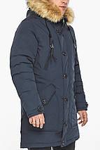 Куртка – воздуховик чоловічий сучасний зимовий темно-синій модель 30118, фото 3
