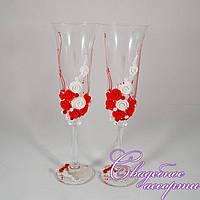 """Свадебные бокалы """"Красные цветы"""""""