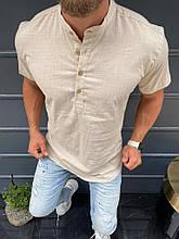Рубашка  мужская с коротким рукавом лён пр-во Турция О Д