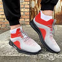 Удобные повседневные демисезонные мужские кроссовки для спорта красно серие