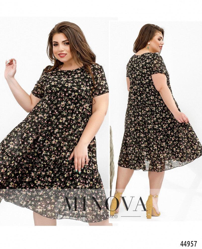 Нежное и привлекательное платье батал с мягким подкладочным слоем  большого размера 50, 52, 54, 56, 58, 60, 62