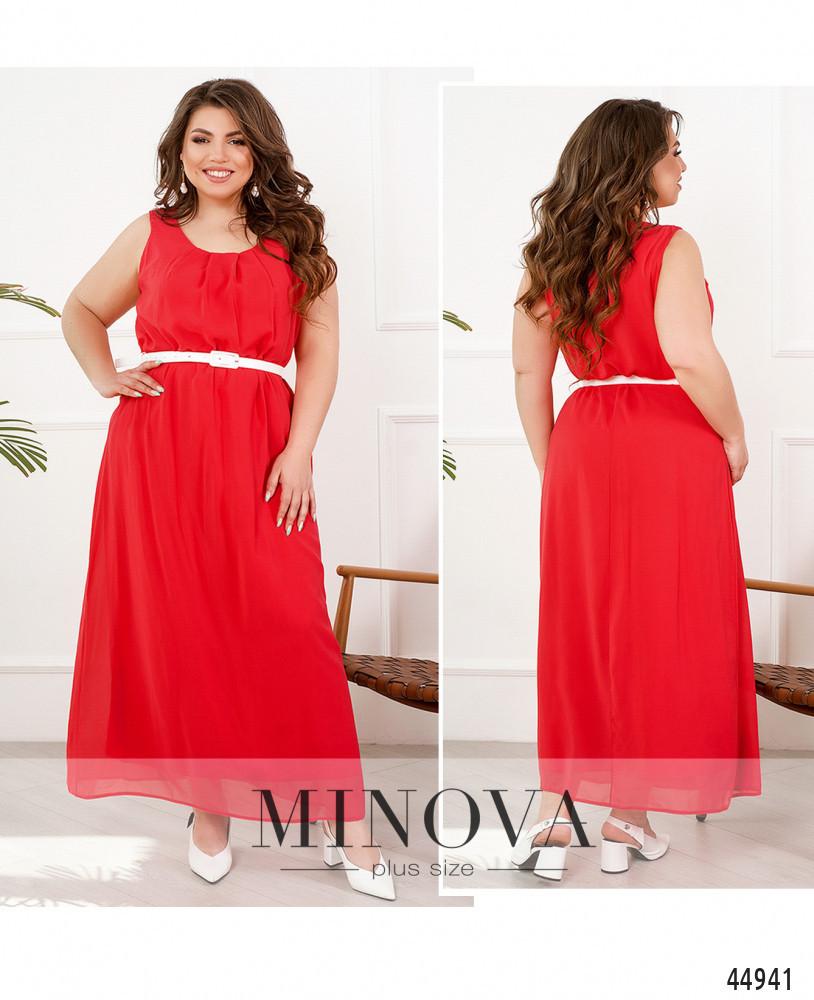 Элегантное и яркое платье батал с полукруглым вырезом горловины большого размера 52-54