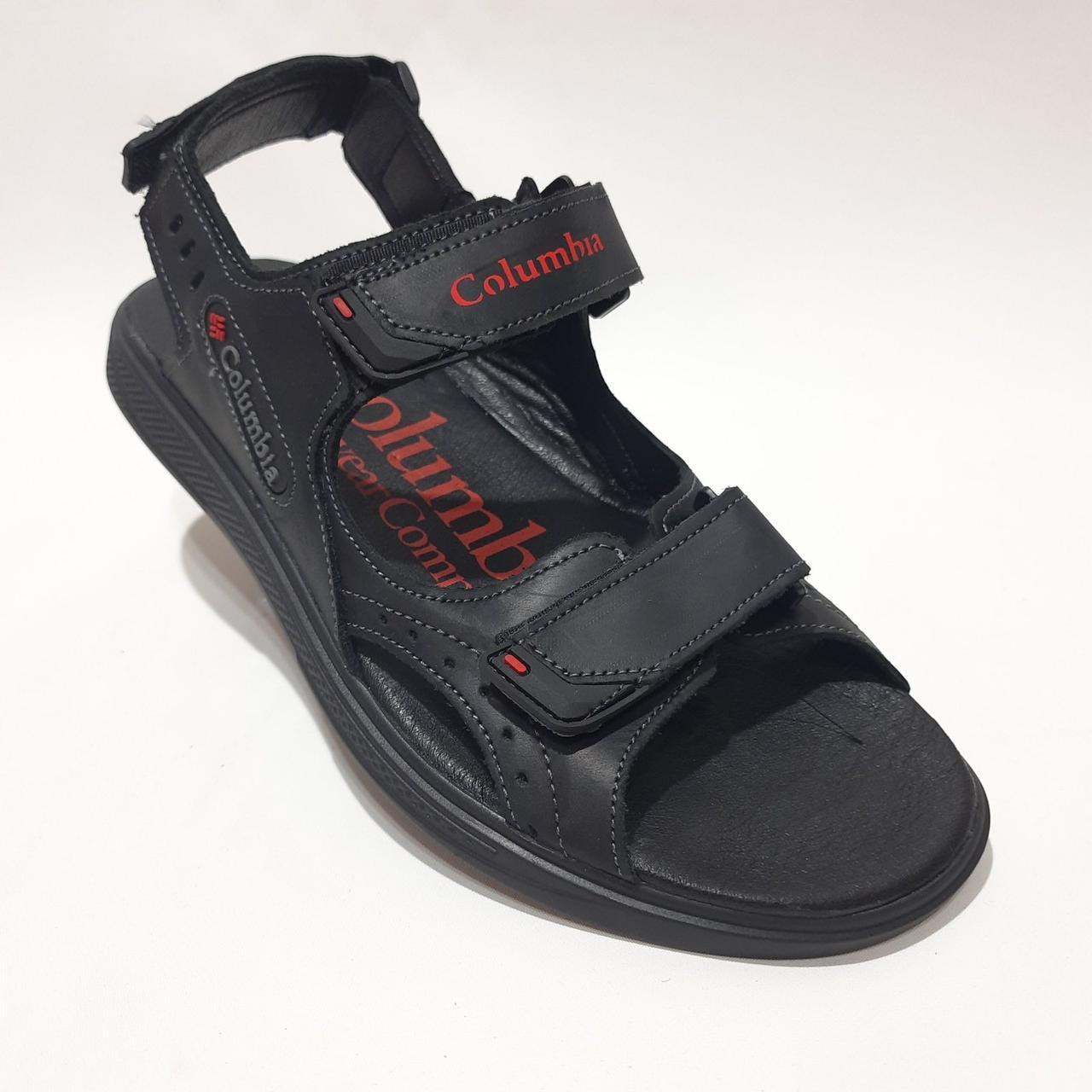 Чоловічі шкіряні сандалі Columbia (репліка) на липучках Чорні