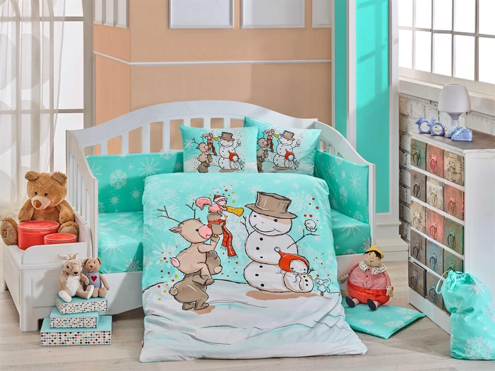 Детская постель в кроватку 100х150 хлопок HOBBY поплин Snowball мятный