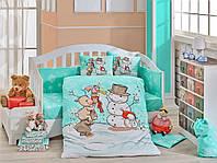 Детская постель в кроватку 100х150 хлопок HOBBY поплин Snowball мятный, фото 1