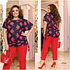 Літній жіночий костюм-двійка великих розмірів: блузка з кишенями + штани (р. 48-62). Арт-2084/42