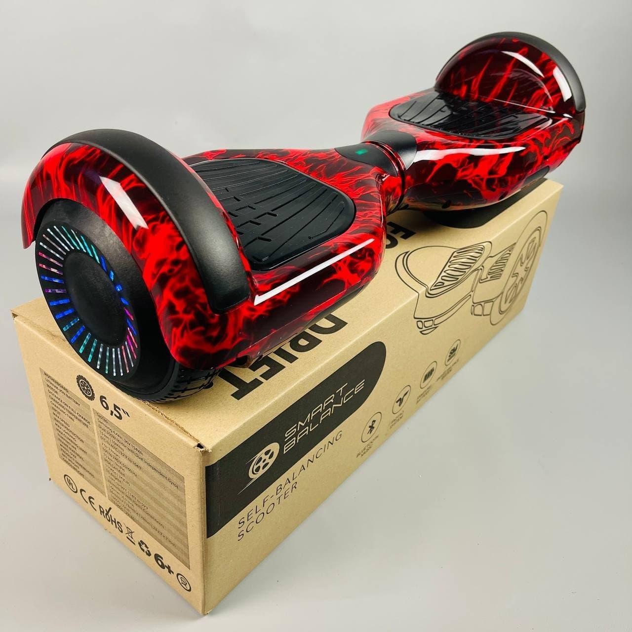 Гироскутер Smart Balance Wheel 6.5 Красное пламя с подсветкой | Гироборд Смарт Баланс маленький для взрослых