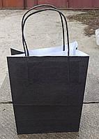 Чёрные крафт пакеты 18*10*21 см 100 г/м2 (возможно нанесение лого) крафт пакеты, бумажные пакеты,печать на пак