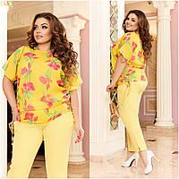 Летний яркий женский костюм-двойка больших размеров: блузка с карманами + брюки (р.48-62). Арт-2085/42, фото 1