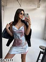 Стильное женское летнее платье комбинация на бретельках