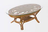 Кофейный стол Аскания CRUZO натуральный ротанг королевский дуб st0013, КОД: 1925254