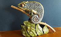 Настольная скульптура Хамелеон. Керамика, ручная работа