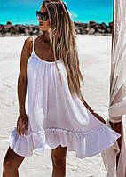 Лёгкое  женственное летнее платье с  открытой  спиной на  тонкий бретелях