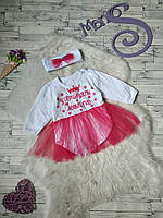 Новогоднее боди платье с повязкой для девочки